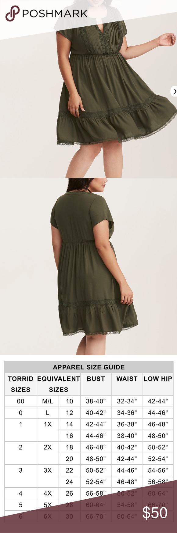 f1d4c56cb9 Torrid Dress Challis Lace Inset Dress Olive Green Lace insets trimming the  neck and skirt Pleated Bodice Notch Neck Short Sleeves Stretch Waist No  closure ...