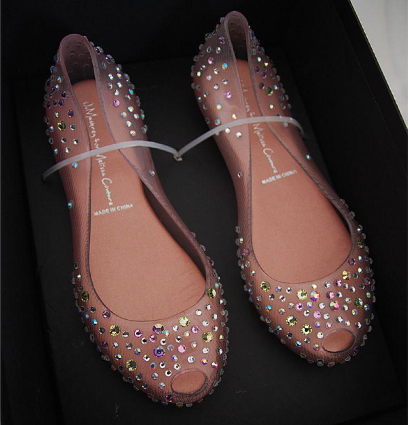 090614a26b Barato Frete grátis moda Melissa marca transparente cristal Rhinestone  geléia Flats sandálias de casamento sapatos sapatos femininos 2014