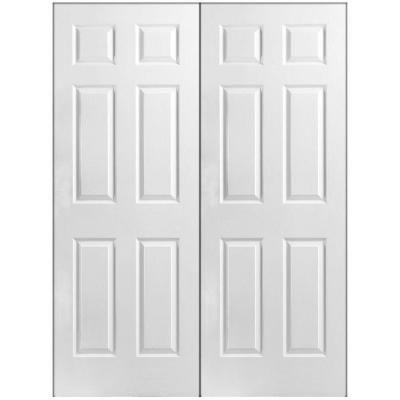 Masonite, Textured 6 Panel Hollow Core Primed Composite Double Prehung  Interior Door, 37839