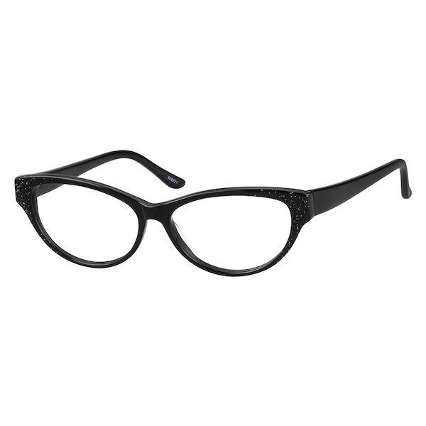 5ad2637390e7 Zenni Womens Classic Cat-Eye Prescription Eyeglasses Black Plastic 628221