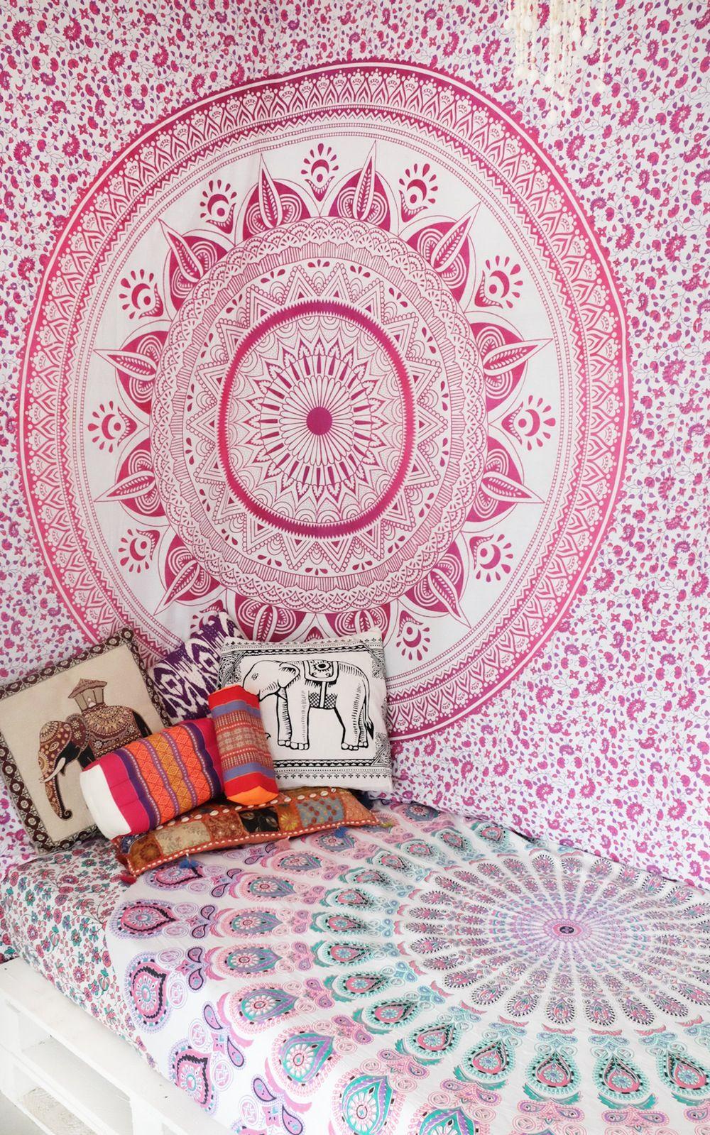 Pink Purple Multi Ombre Tapestry Hippie Mandala Bedding