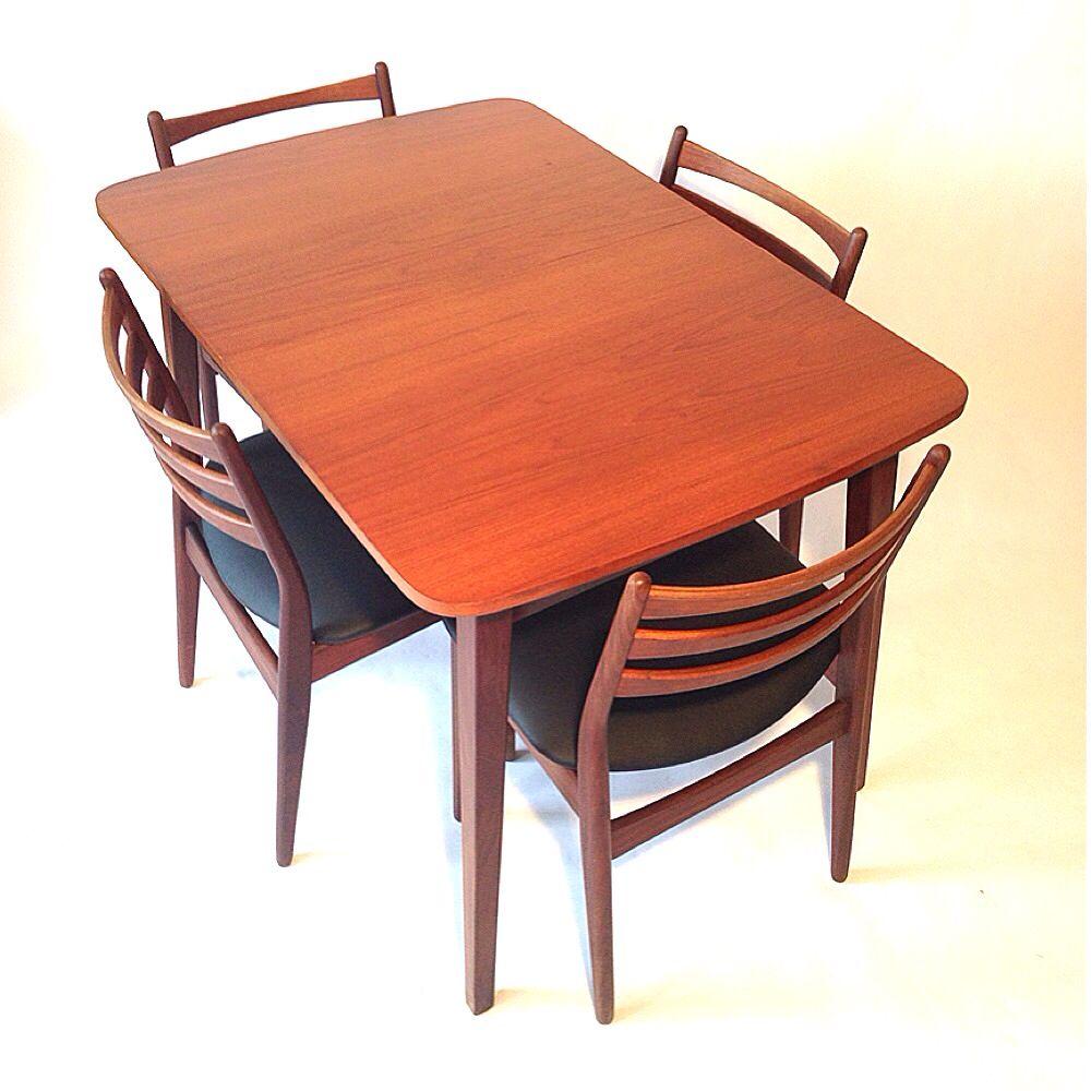 Finest jaren deense eettafelset teak eettafel met for Ikea fusion tafel