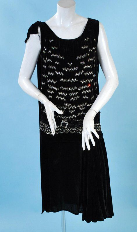 1920s  French Paste Rhinestone Silk Velvet Dress