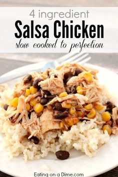 Crockpot Salsa Chicken Recipe is one of our family favorites! I can feed by family of 6 for less than $4 and it cooks in the crock pot.