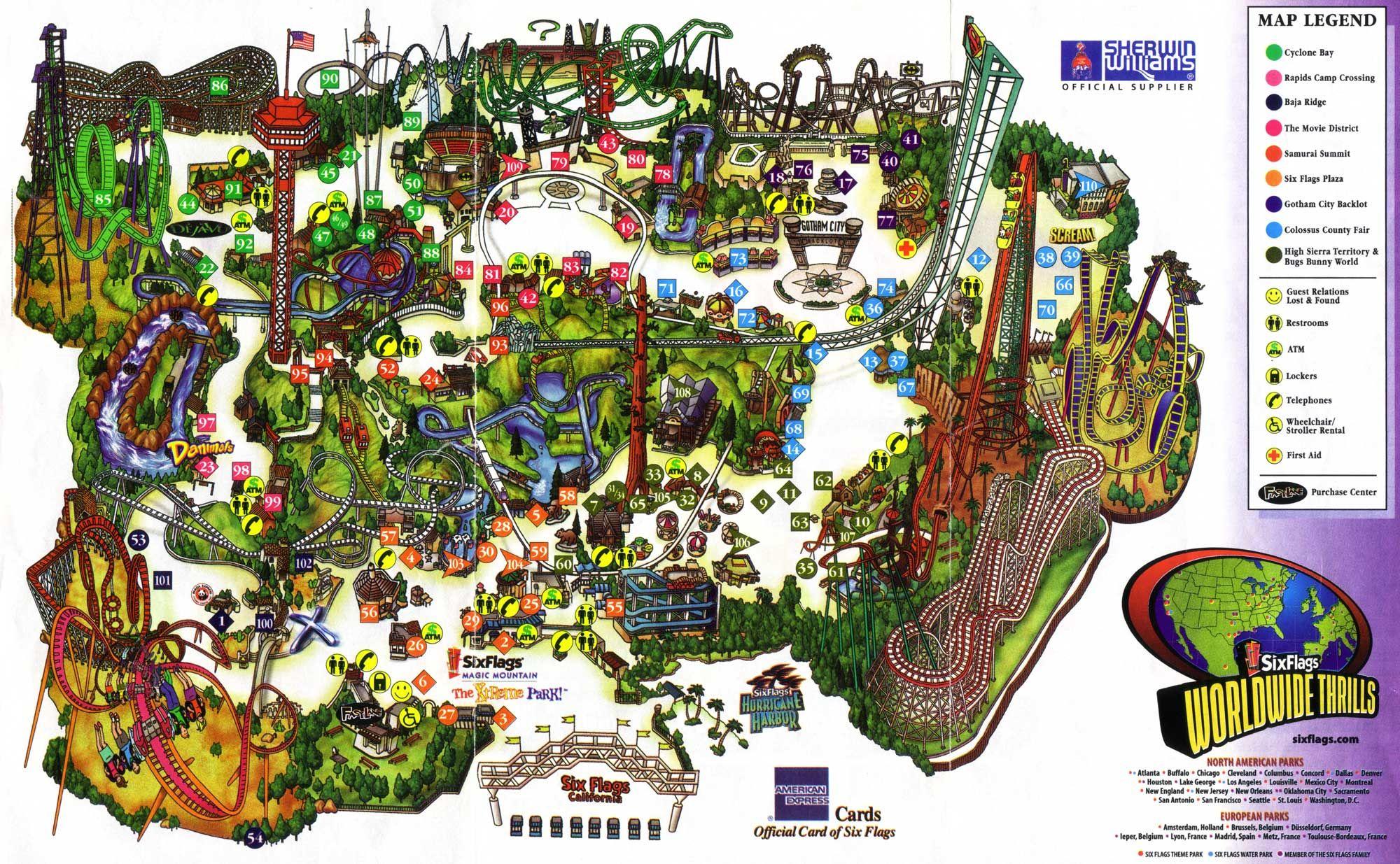 Six Flags Magic Mountain Parking Design Activities Theme Park
