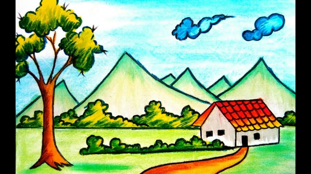Nature Scene Drawing For Kids Village Nature Scenery Drawing Easy Nature Drawing Nature Sketch Scenery Drawing For Kids