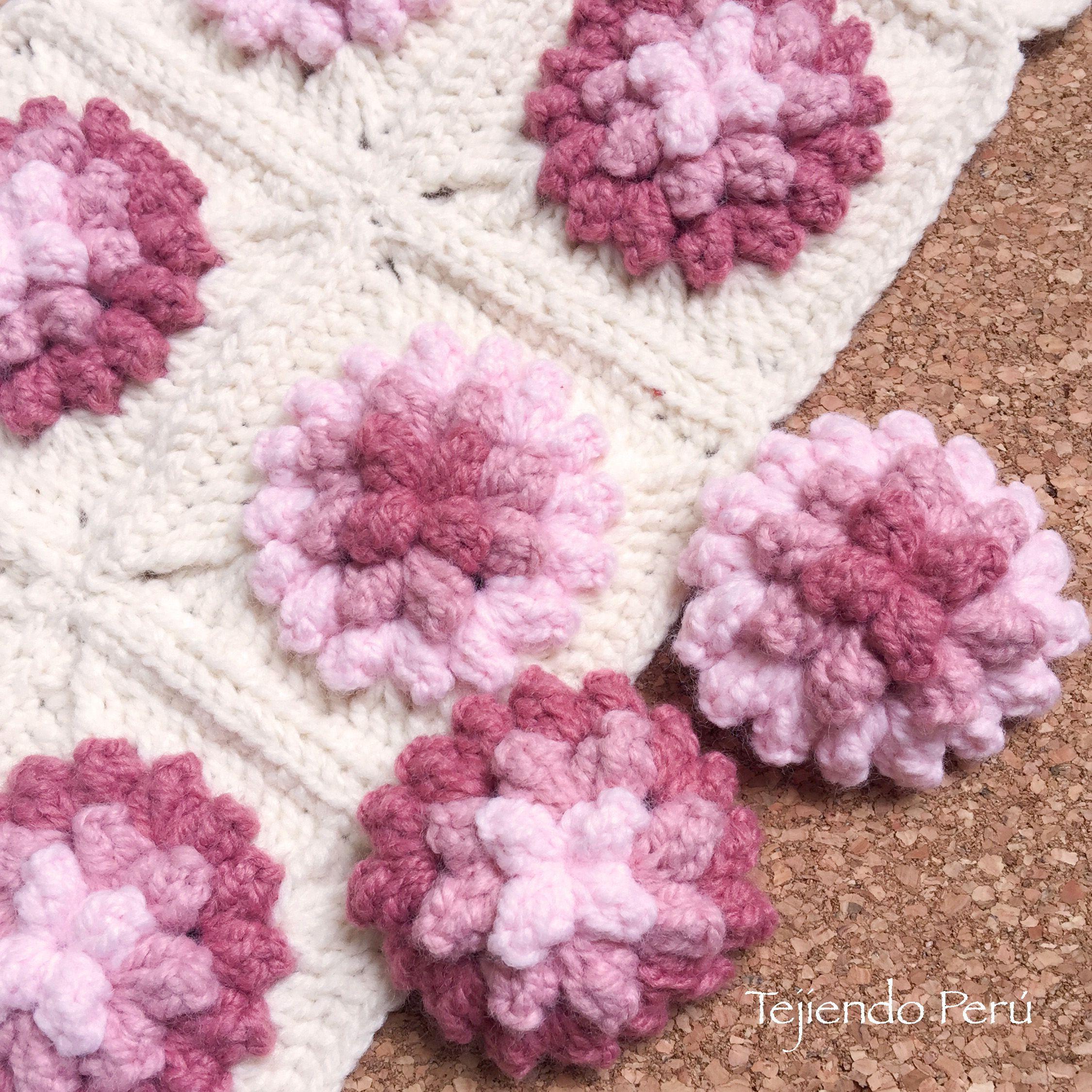 Crochet: flores popcorn en 3D! Paso a paso :)   puntos crochet ...