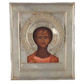 Icona russa antica Cristo Emmanuele 1874 riza argento   vendita online su HOLYART