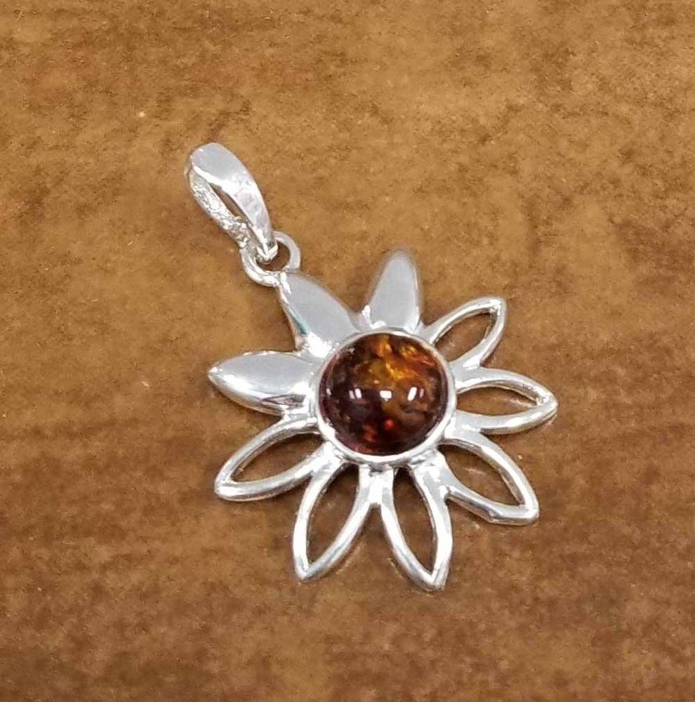 9cfd6a140 Honey Brown Baltic Amber and sterling silver daisy flower pendant for  necklace #Handmade #Pendant
