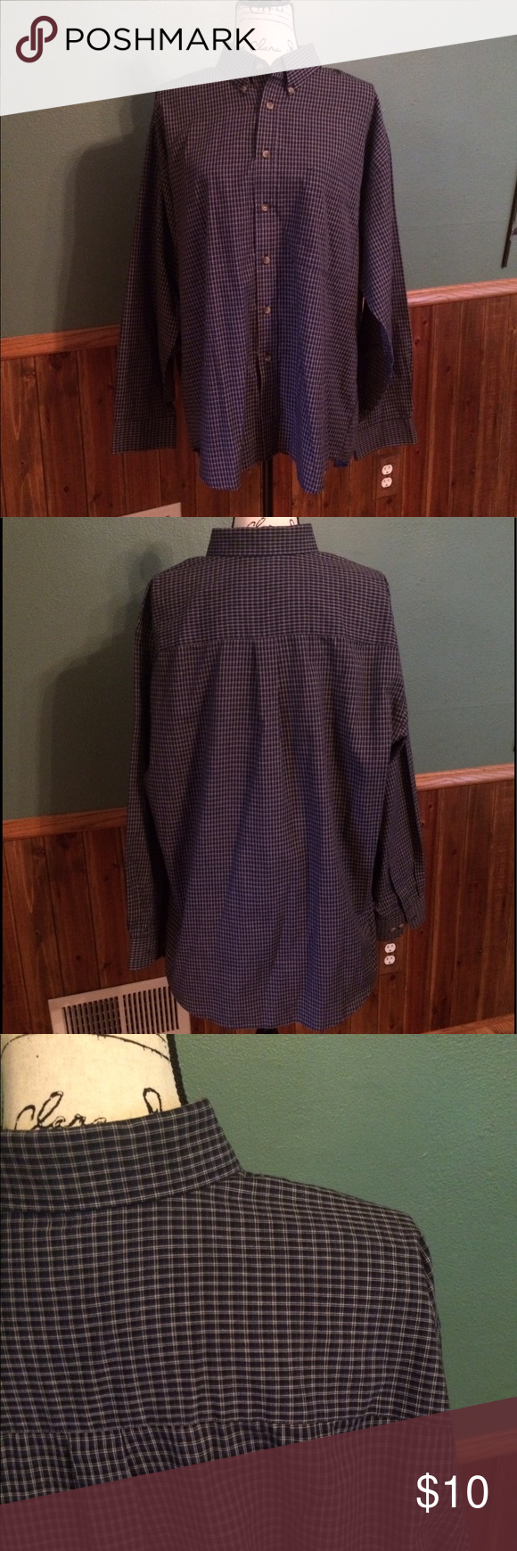 Men's Puritan Long Sleeve Plaid Button-up, size L Men's navy with tan stripes Puritan plaid long sleeve button-up shirt, size large. In excellent  condition, I don't think my husband's ever worn it. Shirts Casual Button Down Shirts