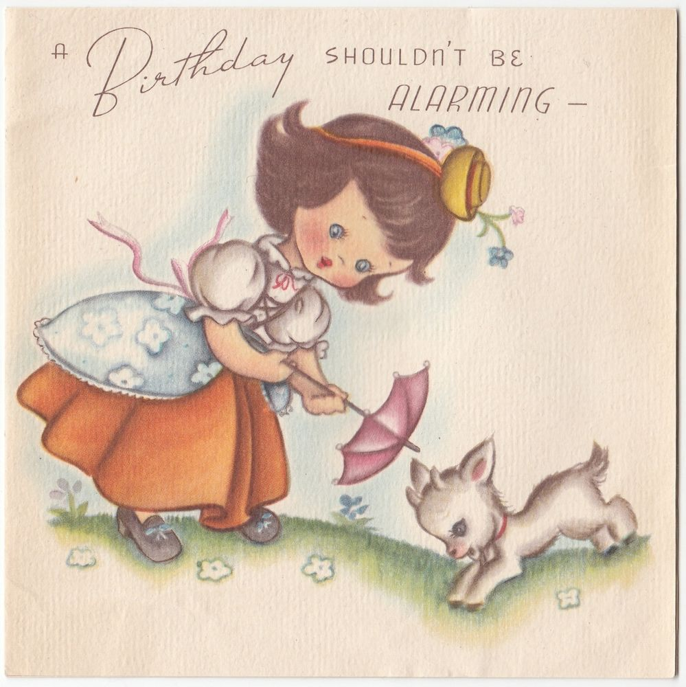 Vintage Greeting Card 1940s Cute Girl Baby Goat Birthday a101 – Goat Birthday Card