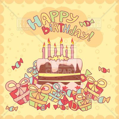 Happy Birthday Card With Cake Candles And Gifts Birthday And