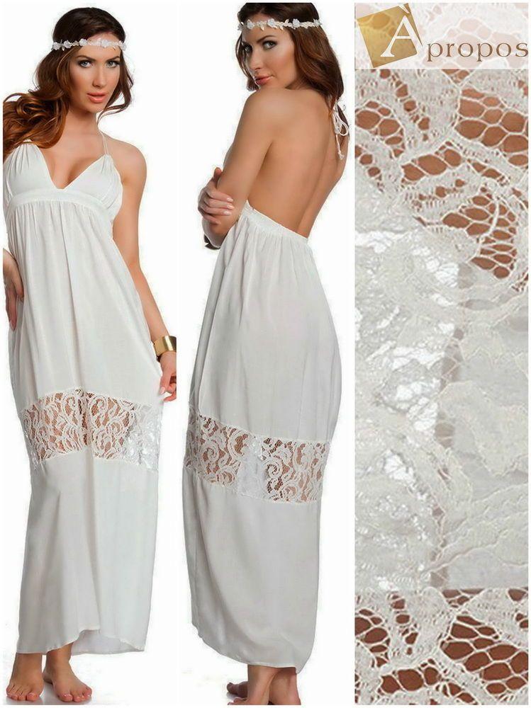 Sommerkleid Freizeitkleid Bodenlang Maxi Neckholder Spitze Weiß Baumwolle 40,42