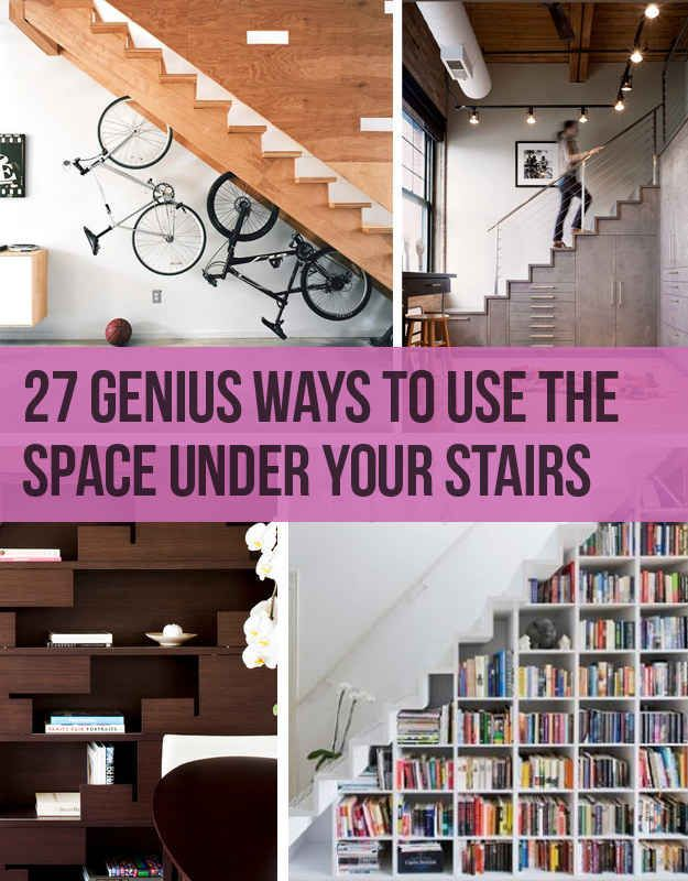 27 genius ways to use the space under your stairs for Using space under stairs