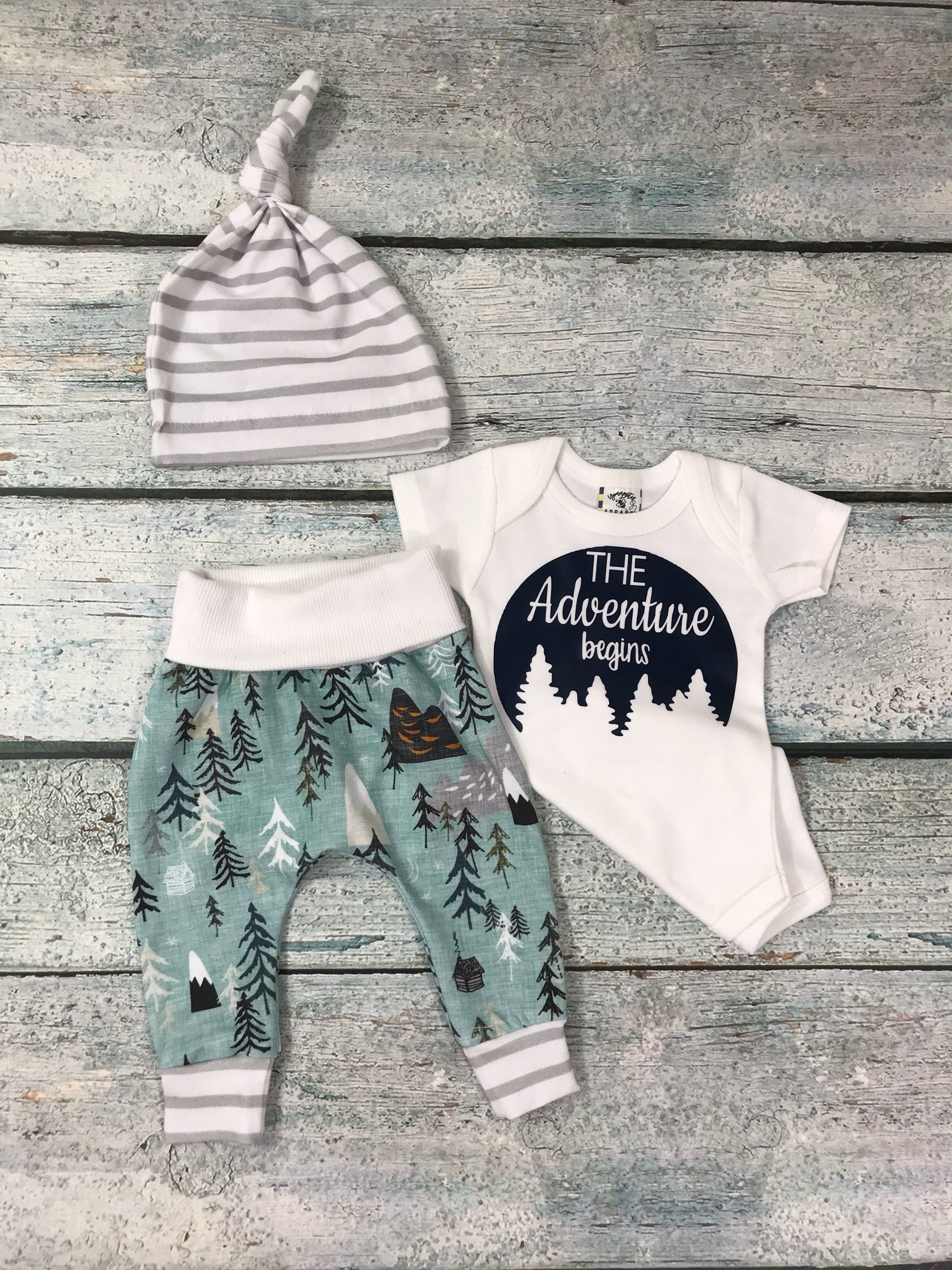 Photo of baby boy adventure begins outfit/ organic cotton coming home set/baby boy/going home set