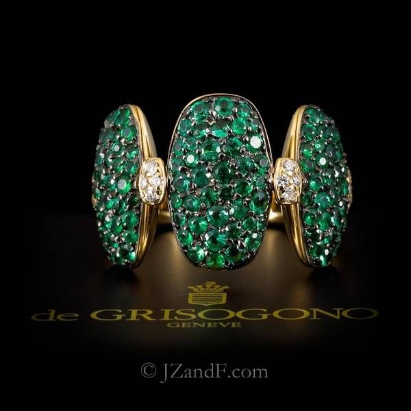 de Grisogono ring in tsavorites and yellow gold.