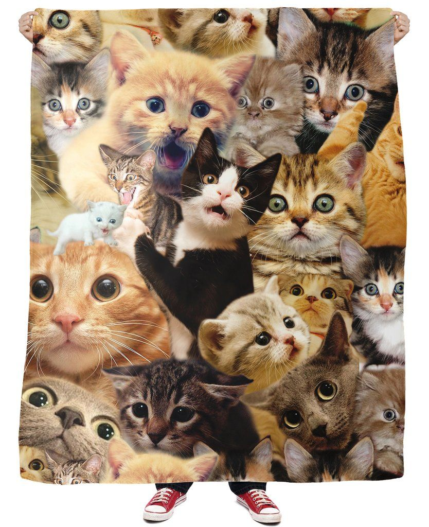 Surprised Cats Fleece Blanket Cat Bandana Fleece Blanket Cat Collage