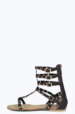 2cae74365f3 Lucy Studded Multi Strap Gladiator Sandals at boohoo.com