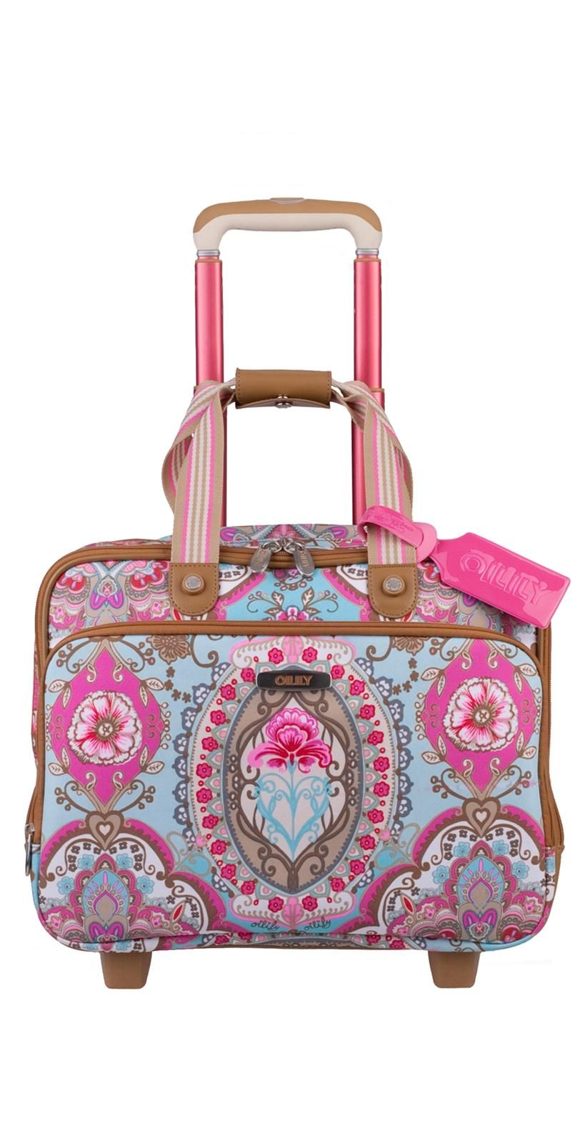 Oilily Travel Lotus Office Bag On Wheels In Sand