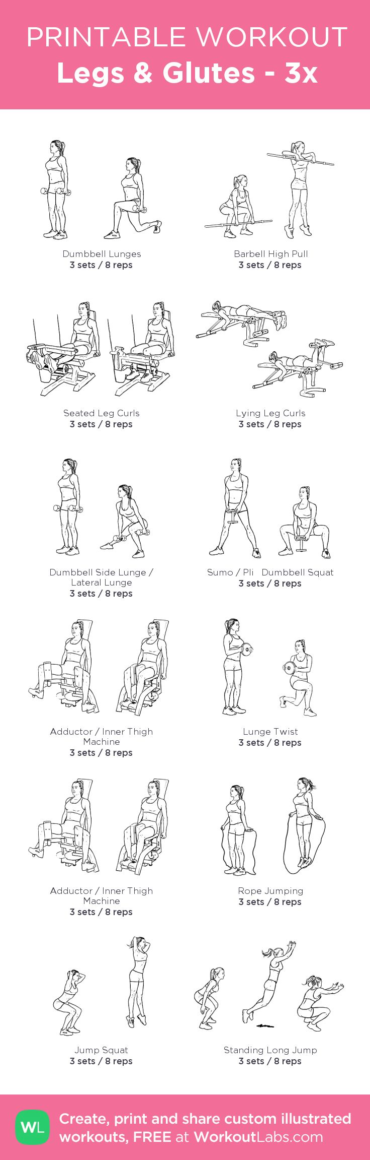 Gym & Entraînement : Legs & Glutes 3x: my visual workout created at WorkoutLabs.com Click throu