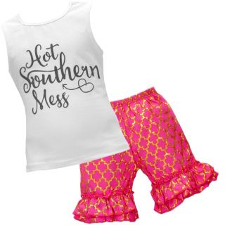 """Every Girl Needs a Cute Summer Outfit This outfit is absolutely precious! This white tank top inscribed with """"Hot Southern Mess"""" is paired with hot pink and gold quarter-foil shorts.  Add a knot headband to make the outfit complete. Thisoutfit is sure to turn heads! This in style outfit is also excellent quality! This is a must for your little one's closet! This outfit is super stylish, and comfy for everyday wear! Hot Pink Quarterfoil Southern Mess 2pc Outfit"""