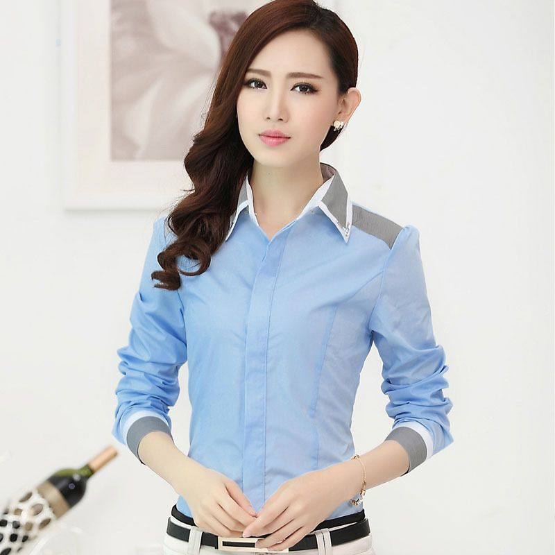 New Fashion Women Clothes Stripe Color Block Formal Shirt Female ...