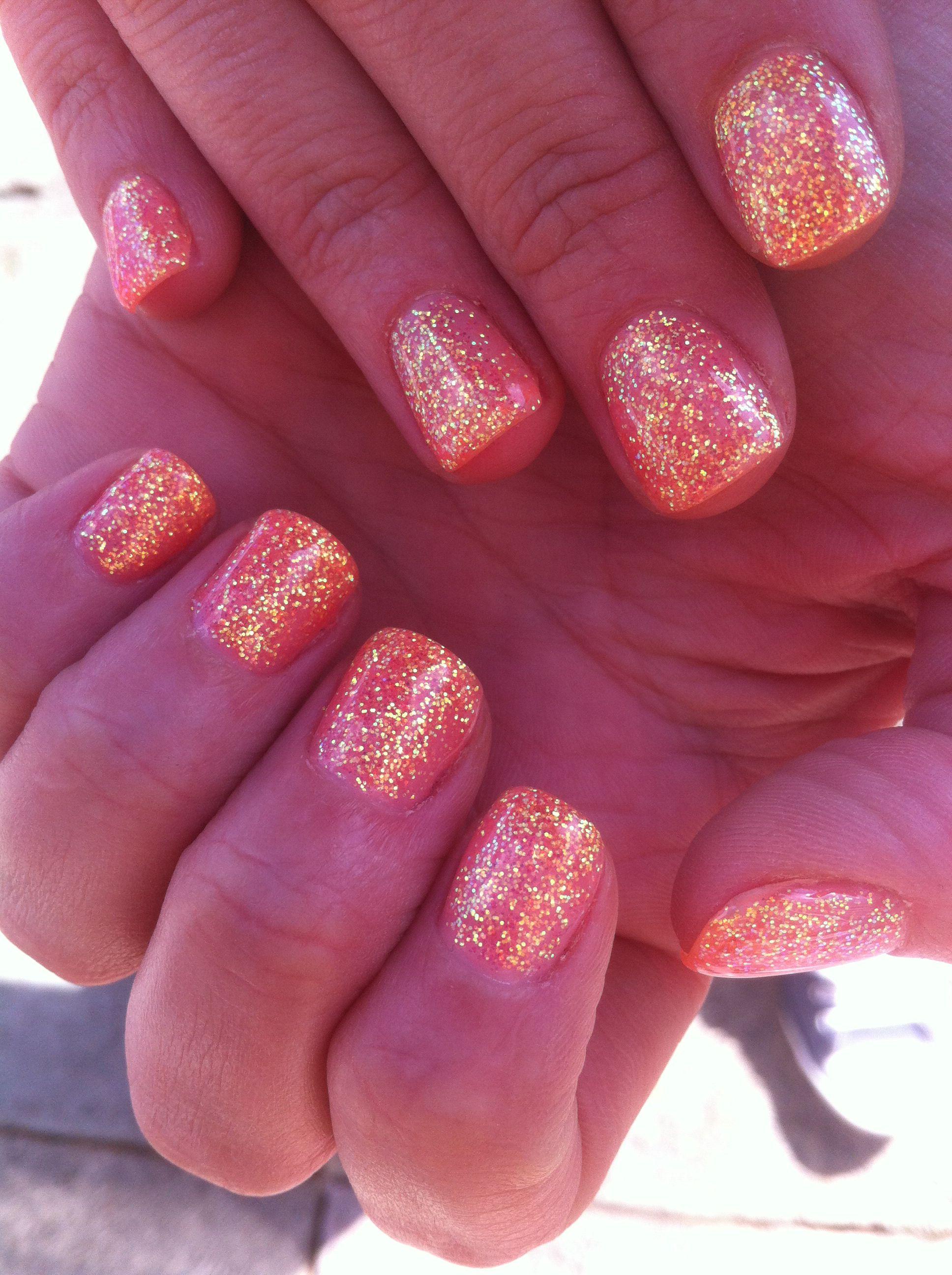 Coral Glitter Calgel Nails