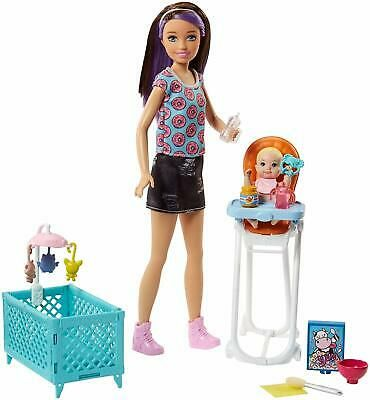 Barbie Skipper Baby Sitter Doll Role-Play Interactive Kids Playset + Accessories | eBay