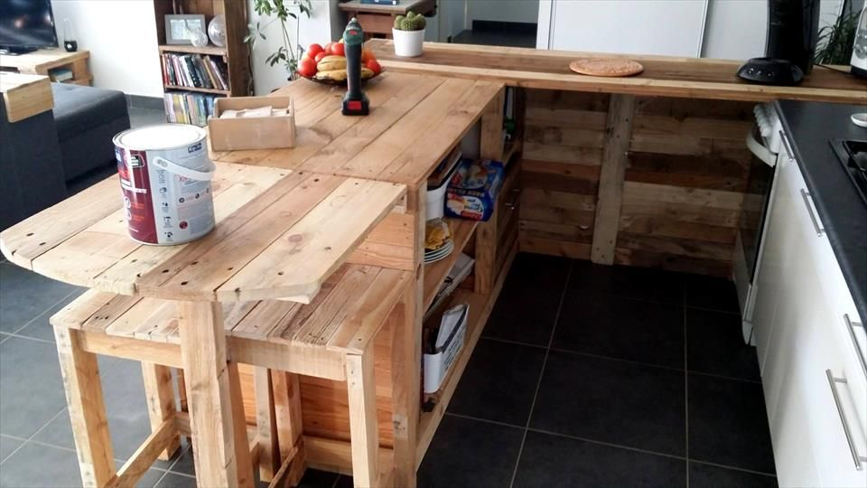 Kitchen Cabinets From Pallets pallet kitchen counter with breakfast table & storage | pallets