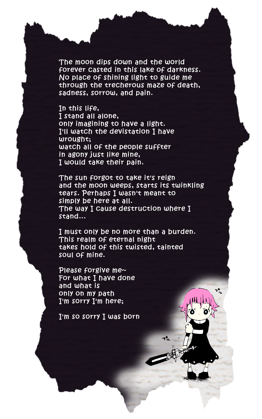 1a780a34aad45e cronas depressing poen he wrote in soul eater......(goes to corner)i wish i  had never been born.