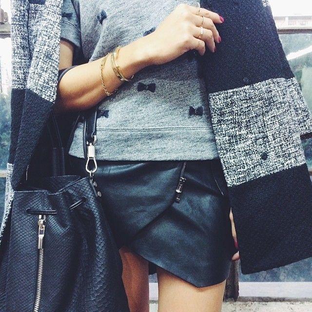 Zippered-detail Black Leather Skirt from @Chriselle Lim