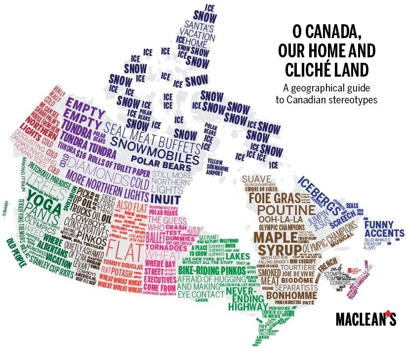 Regional Map Of Canada.Regional Canadian Stereotypes By Maclean S Map Canada Canadian