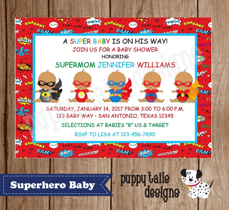 Custom Printed African American Superhero baby shower, birthday ...
