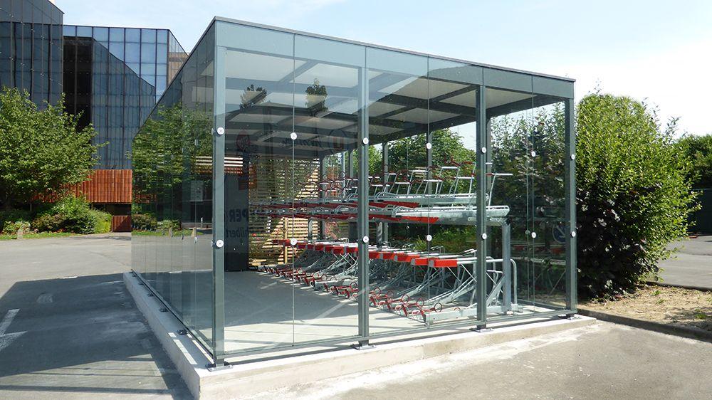 Abri Plus - Garage vélos sécurisé - Modèle Square Plus - Banque - abris de jardin adossable