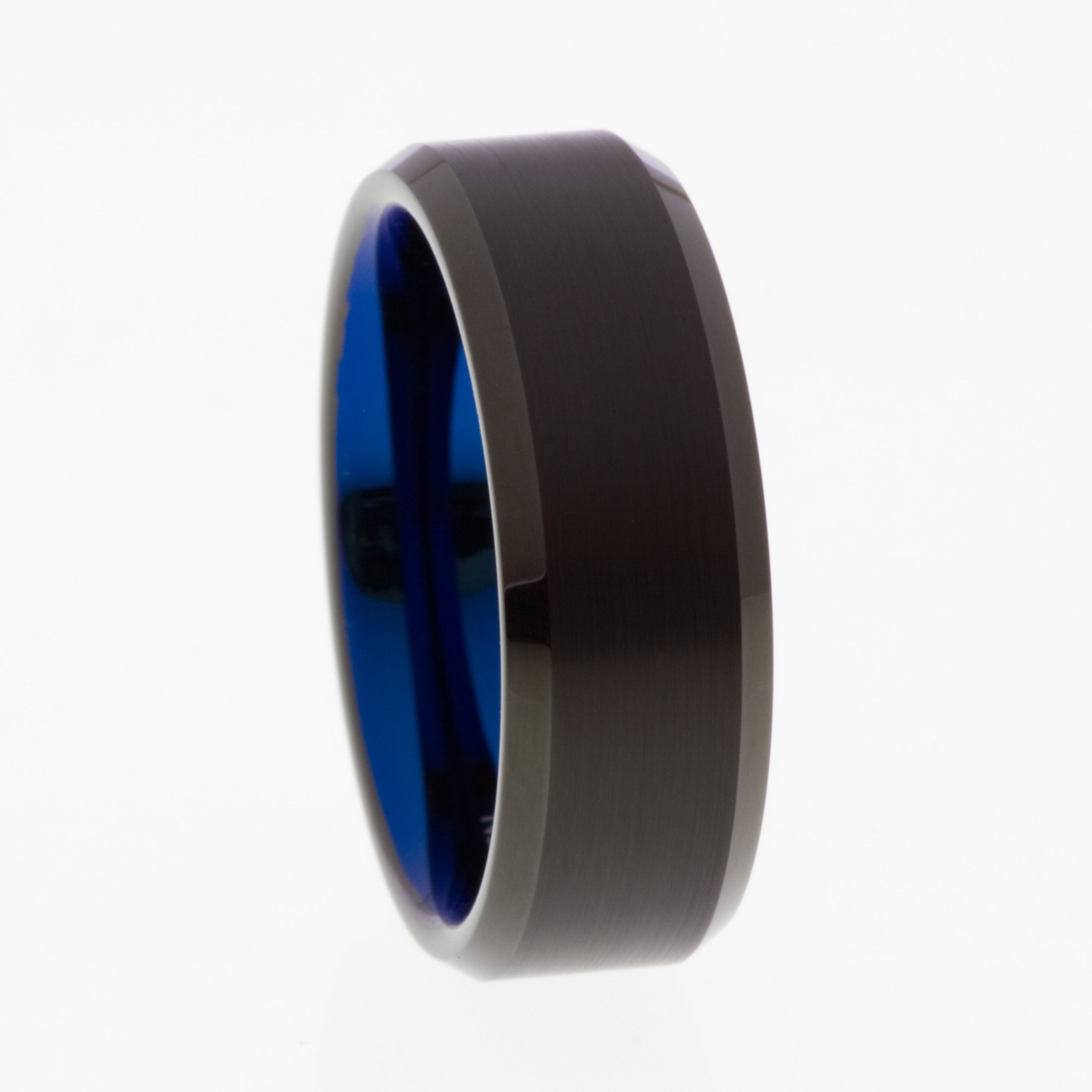 Black Brushed Tungsten Ring with Blue Inner 8mm Mens