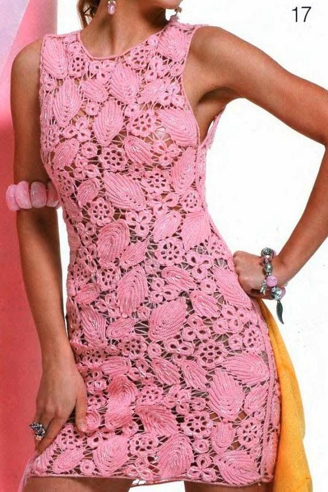 crochelinhasagulhas: Vestido rosa de crochê | Idéias Criativas ...