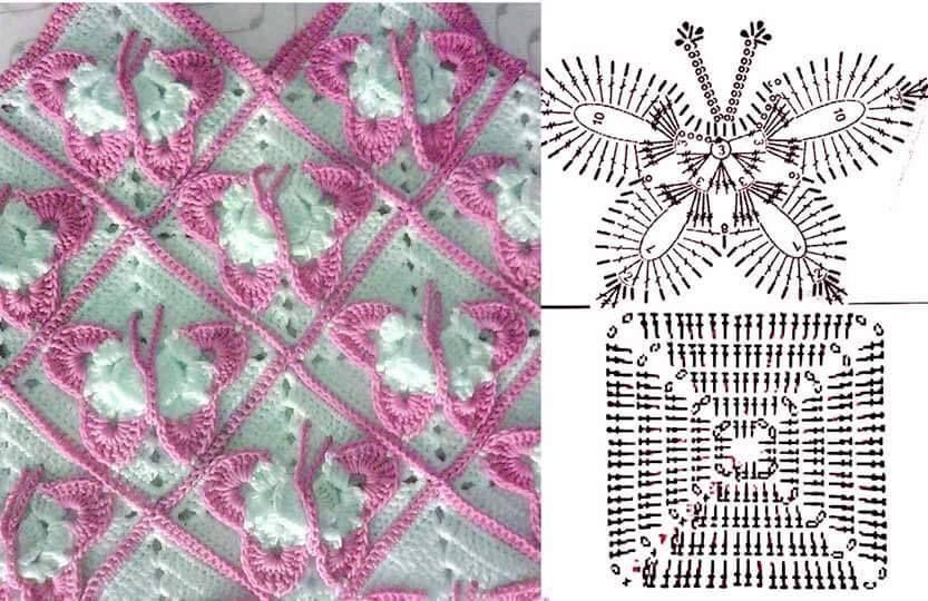 leptiri heklani | šeme i uzorci | Pinterest