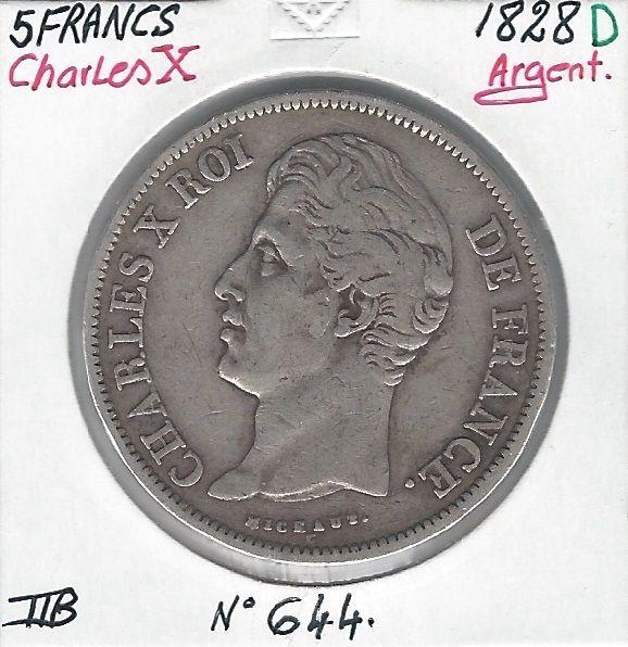 5 FRANCS - CHARLES X - 1828 D - Pièce de Monnaie en Argent // Qualité : TTB