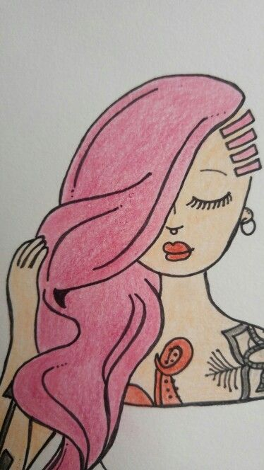 Tattoo girl - time is now #tattoo #girl #draw #ilustration #jeans #pinkhair