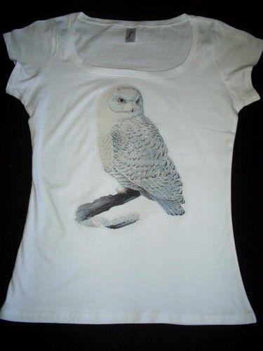 Boatneck T-Shirt mit Druck weiße Eule weiß S-XL -  with print white owl