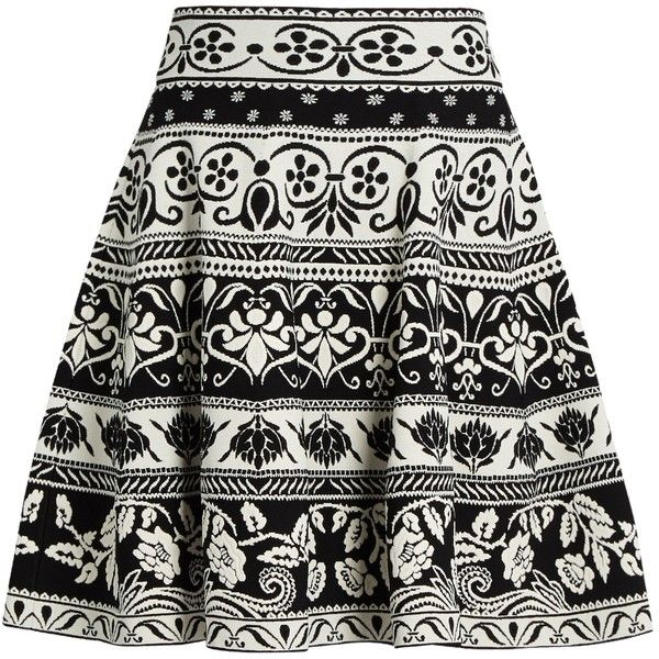 Alexander McQueen Floral-jacquard knit skirt (3.010 BRL) ❤ liked on Polyvore featuring skirts, saias, black multi, flare skirt, floral print skirt, striped skirt, flower print skirt and striped skater skirt