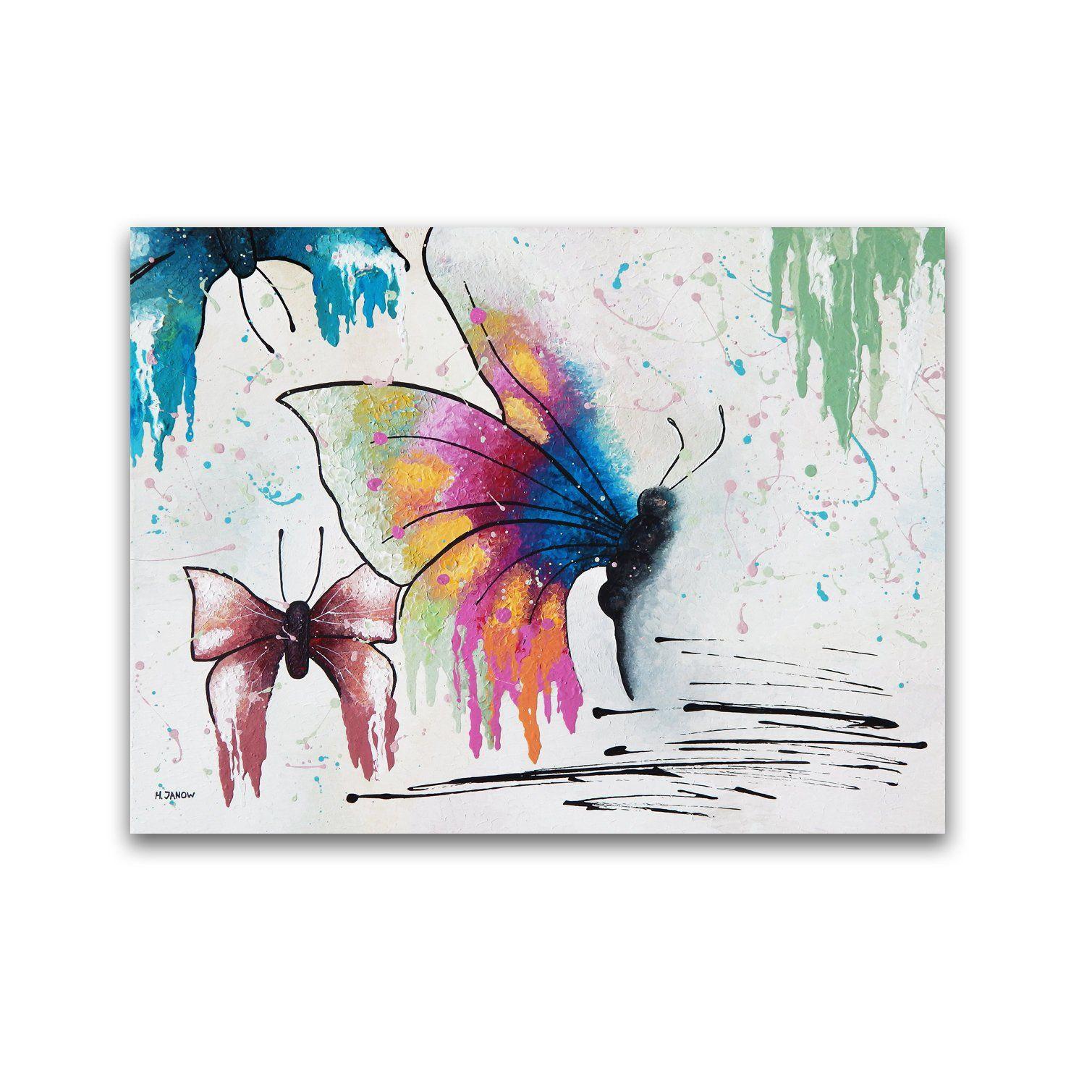 Spring Decor Butterfly Painting Original Painting On Canvas Acrylic Pour Painting Fluid Art Colorful W Butterfly Painting Acrylic Painting Canvas Fluid Art