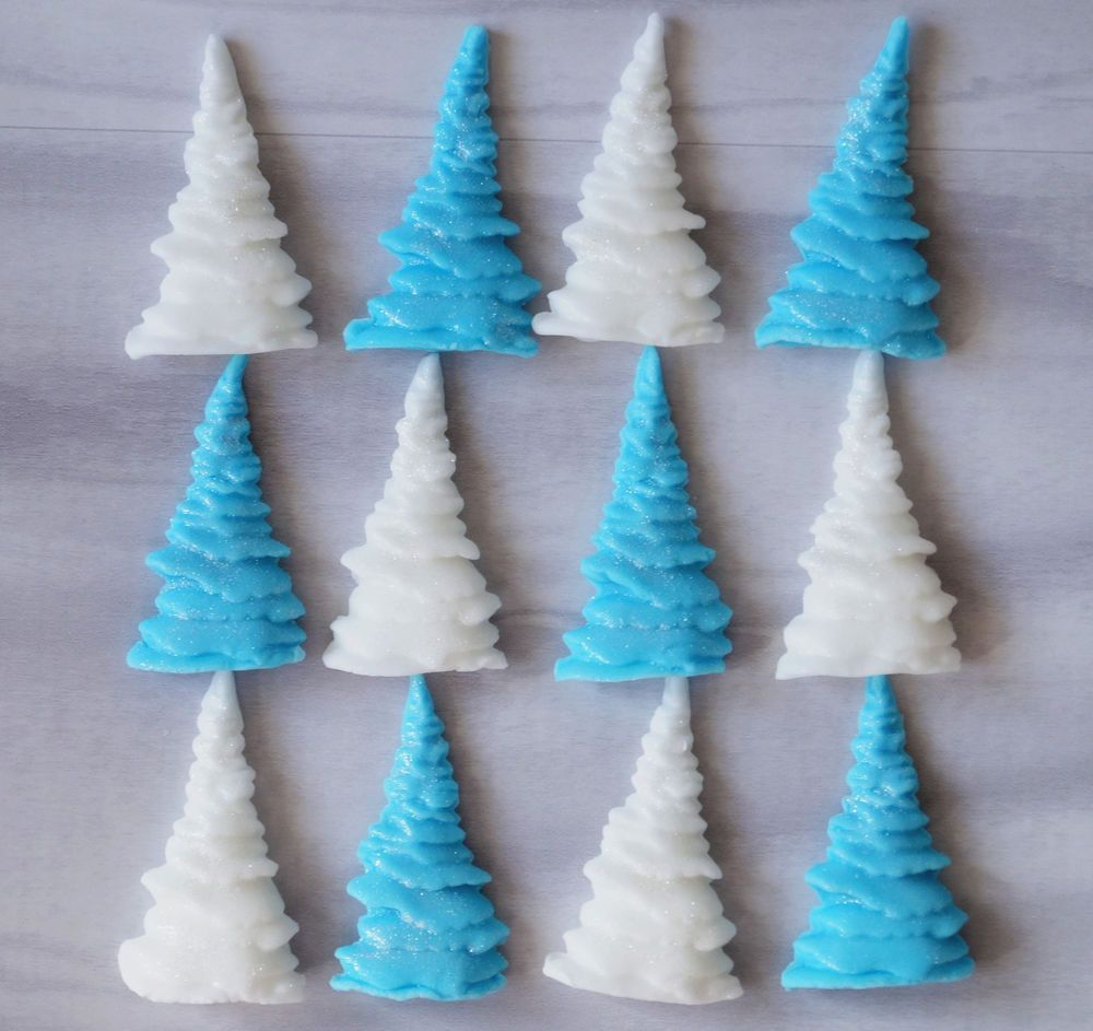 12 Edible Christmas Trees White /& Silver Sugar Cake Cupcake Toppers Decorations