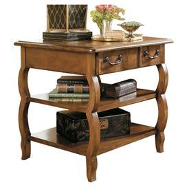 """1-drawer side table with 2 lower display shelves and a distressed finish.  Product: Side tableConstruction Material: Birch solids and veneersColor: Distressed tuscanyFeatures:  One drawerTwo lower shelves Dimensions: 26"""" H x 28"""" W x 24"""" D"""