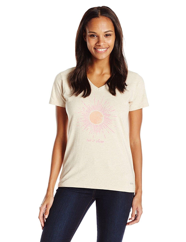 b69d95a2fba Women s Let It Shine Sun Vee Crusher Tee - Heather Oatmeal ...