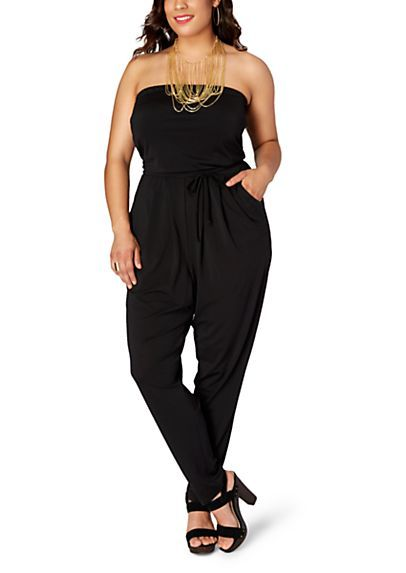 e347b0b62e Plus Pleated Tube Top Jumpsuit