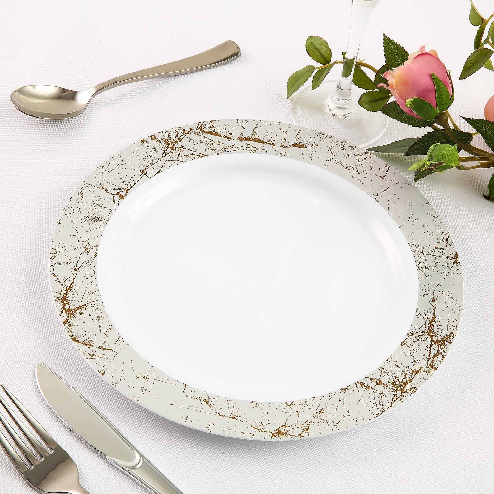 Set Of 10 10 White Round Disposable Plastic Dinner Plates With Silver Marble Hot Stamped Rim In 2020 Plastic Dinnerware Pretty Plates Plates