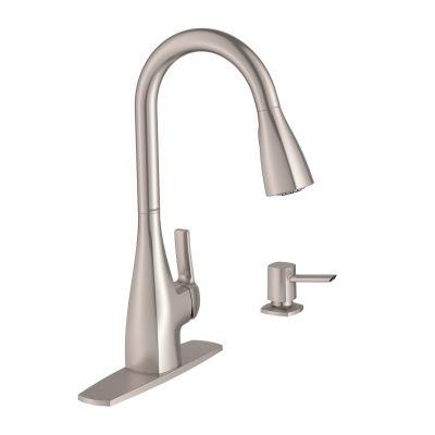 moen kiran spot resist stainless one handle high arc pulldown