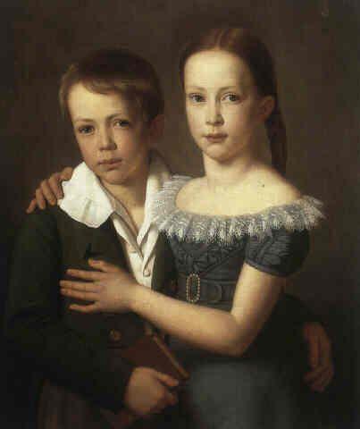 Portrait of Alwine and Robert Uellenberg by Heinrich Christoph Kolbe, Germany, 1825