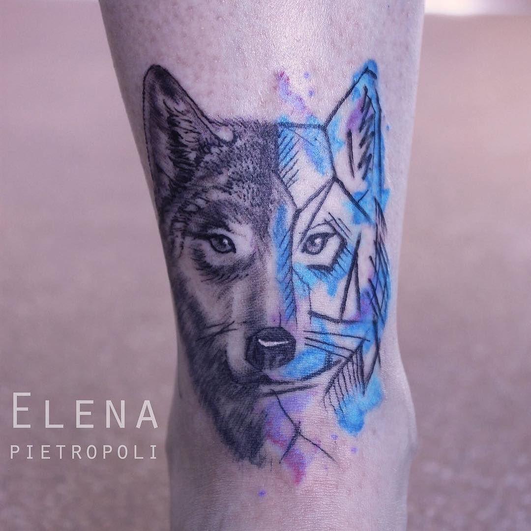 Tattoo wolf watercolor watercolortattoo elenapietropoli